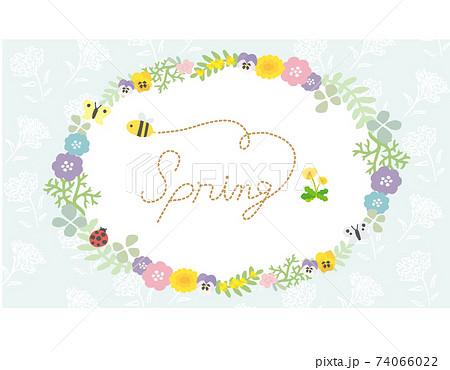 春の草花と虫のイラストフレーム 74066022