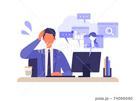 仕事に追われるビジネスマン 74066090