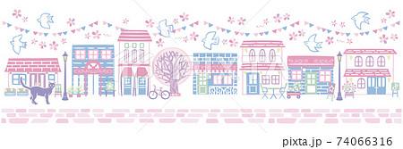 にぎやかな春の桜の街並み 74066316