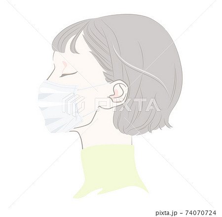マスクを着けた横顔の女性 - プリーツマスク・平型マスク 74070724