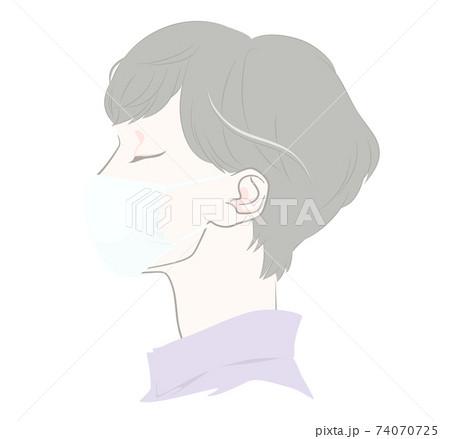 マスクを着けた横顔の女性 - 布マスク・ガーゼマスク 74070725