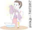 洗顔_タオルで拭く 74072857