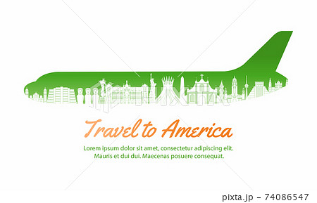America landmark inside with plane shape,concept art  silhouette style,vector illustration,green gradient,vector illustration 74086547