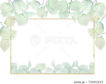 水彩 緑 夏 フレーム 背景 エコ エコロジー 換気 風 観葉植物 74091655