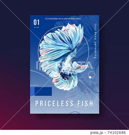Poster template with Siames fighting fish concept design for advertise and marketing watercolor vector illustration 74102686