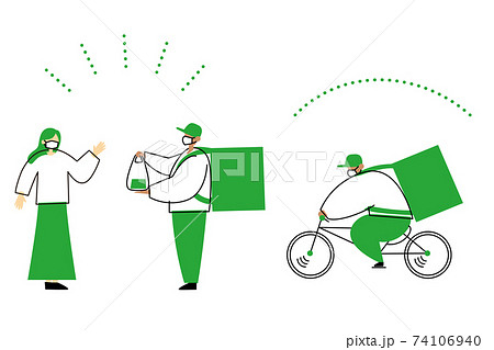 自転車で宅配する人と受け取る人のイラスト。 74106940
