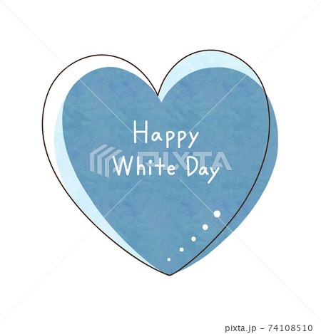 青色のハートと文字【Happy White Day】 74108510