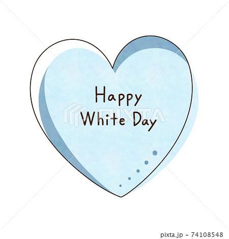 水色のハートと文字【Happy White Day】 74108548