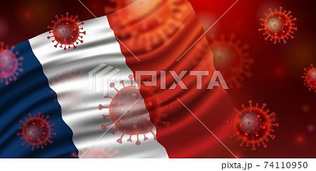 フランスの国旗とコロナウイルス 74110950