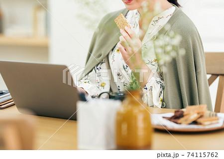 自宅でパソコンを使う女性イメージ 74115762
