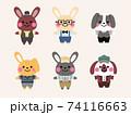 vintage rabbit character illustration set 74116663