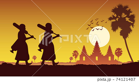 monk walk out of temple pilgrimage to make merit across angkor wat of cambodia. for peace silent and dharma in sunset scene silhouette style,vector illustration 74121407