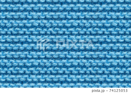 Blue Knitwear Fabric Texture. Close-up Clothes Backdrop 74125053