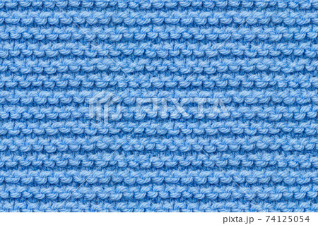 Blue Knitwear Fabric Texture. Close-up Clothes Backdrop 74125054