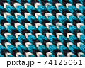 Blue, white and black pattern of synthetic knitted fabric texture 74125061