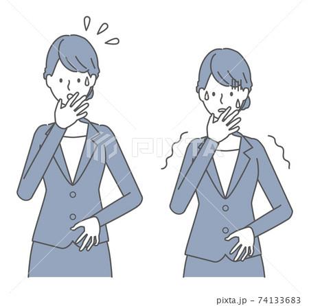 焦る、怖がる スーツを着た女性 74133683