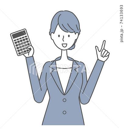 電卓を持つ青いスーツの女性イラスト 74133693