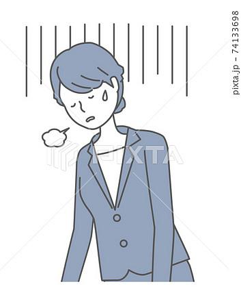 落ち込む・疲れている スーツを着た女性 74133698