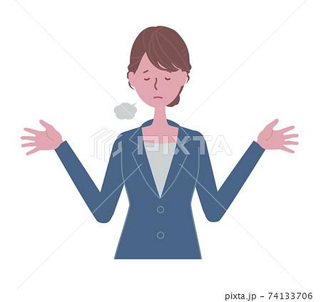 お手上げ 青いスーツの女性イラスト 74133706