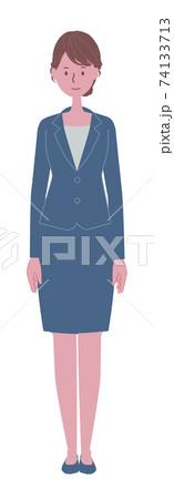 まっすぐ立つ青いスーツの女性イラスト 74133713