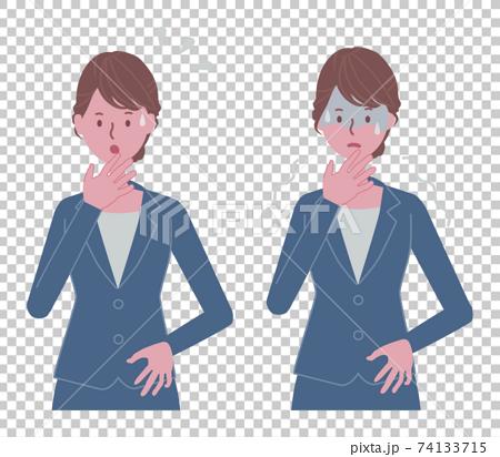 焦る、怖がる 青いスーツの女性イラストセット 74133715