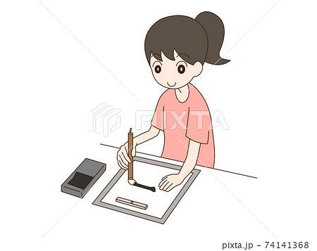 書道をする女性 74141368