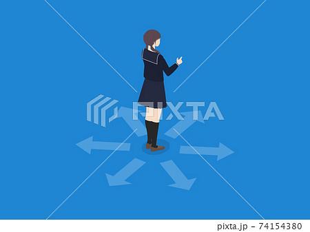 進路を決める女子学生のイラスト素材 74154380