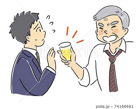 アルコールハラスメントを飲み会で受ける男性 74166681