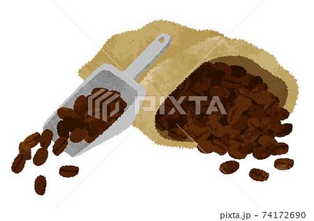 水彩風・コーヒー豆の麻袋とスコップ型コーヒーメジャー 74172690