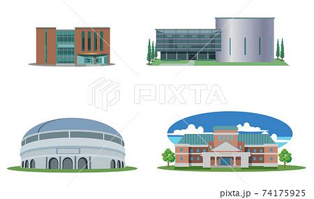 建物セット-図書館-多目的ホール-全天候対応ドーム-ミュージアム 74175925