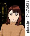 高層ビルの夜景をバックに立つ若い女性 74178621