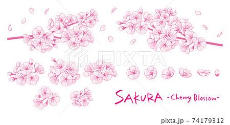 桜のイラストパーツ素材セット 線画1色 74179312