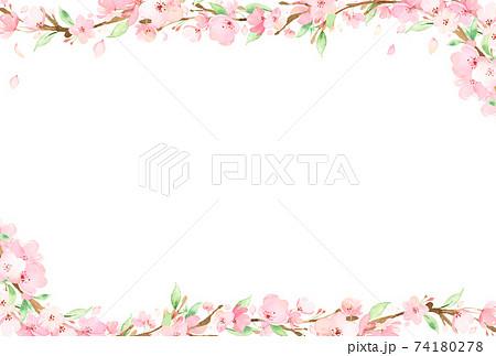 手描き水彩 桜の枝 フレーム イラスト 74180278