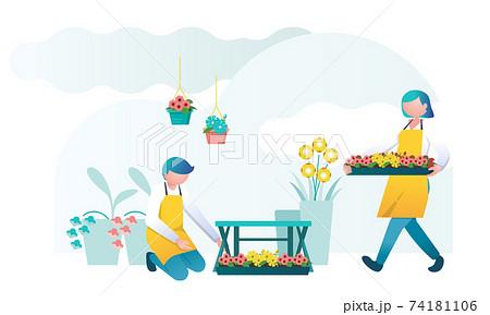 花を売る花屋,ガーデニングを楽しむ人々,開店準備をする花屋 74181106