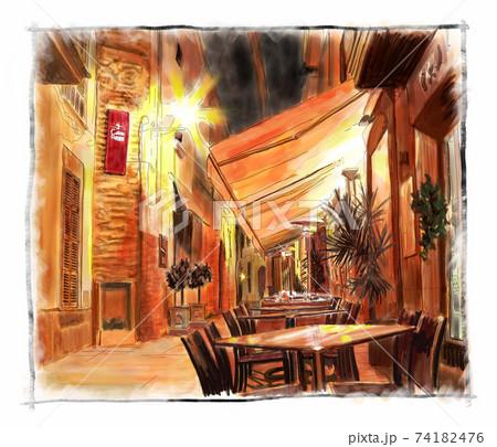 夜のカフェ 74182476
