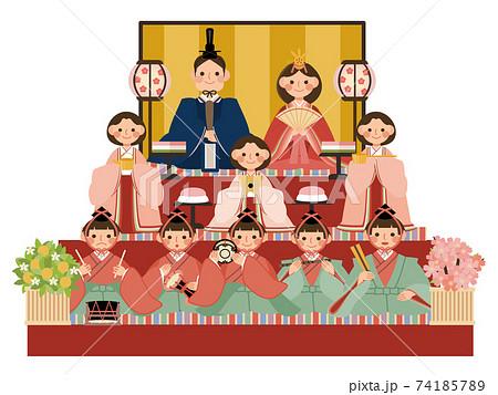 ひな祭り 3段飾りの雛人形 74185789
