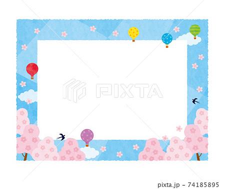 素材-春空と気球2テク 74185895