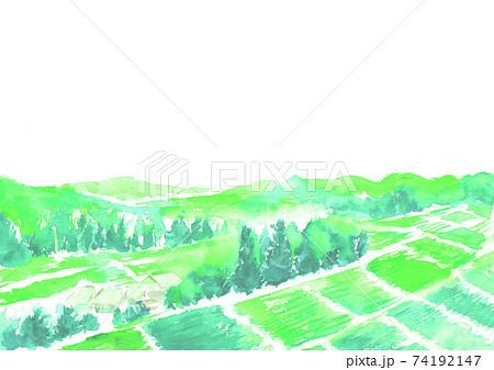 水彩で描いた自然豊かな田舎の風景  74192147