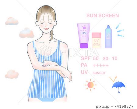 日焼け止めを塗る女性/ブルー 74198577