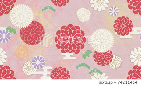和を感じさせるシームレスな背景パターン 花柄 菊 和柄 74211454