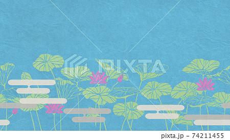 蓮の花 蓮の葉 横方向にシームレスな背景パターン 74211455