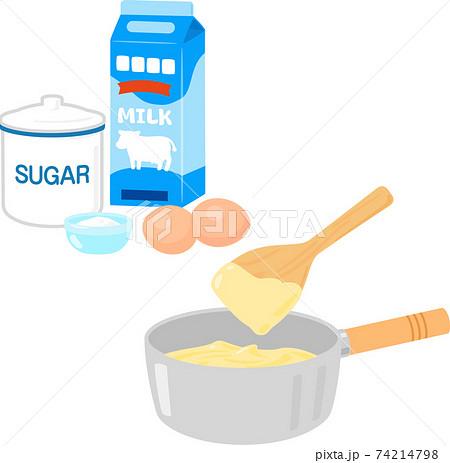鍋に入ったカスタードクリームと材料 74214798