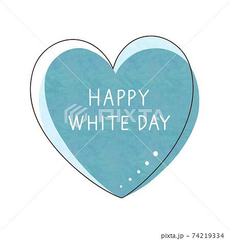 水色のハートと文字【HAPPY WHITE DAY】 74219334