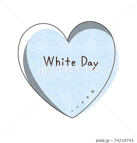 水色のハートと文字【White Day】 74219743