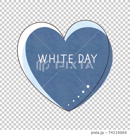青色のハートと文字【WHITE DAY】 74219868