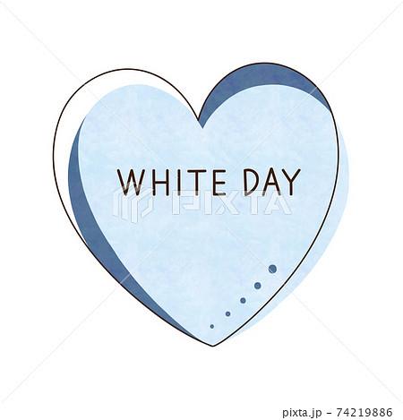 水色のハートと文字【WHITE DAY】 74219886
