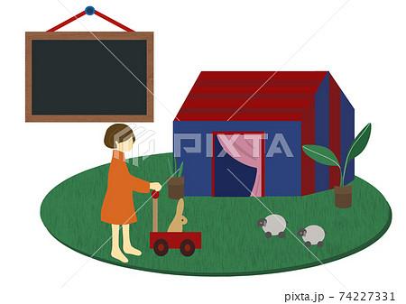 室内で手押し車を押して遊ぶ女の子とメッセージボードのセット(ステイホームや幼児教育等にも) 74227331