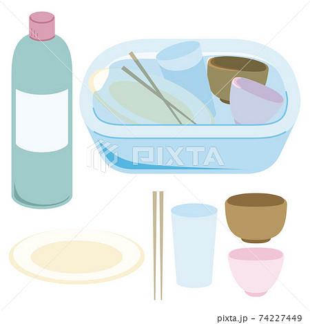 食器を漂白剤で消毒する様子 74227449