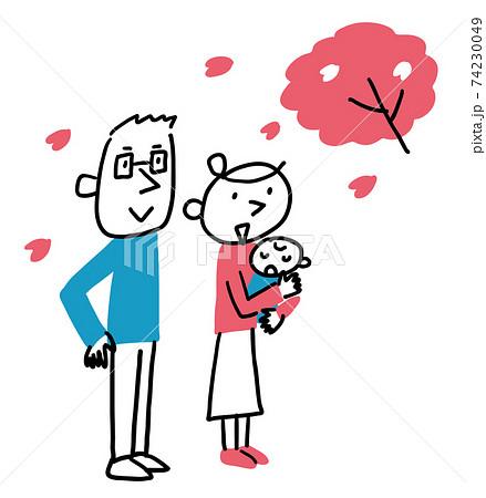 桜を見ている夫婦と赤ちゃん 全身 74230049