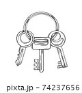 Keys cartoon vector and illustration black and white hand drawn sketch style isolated on white background 74237656